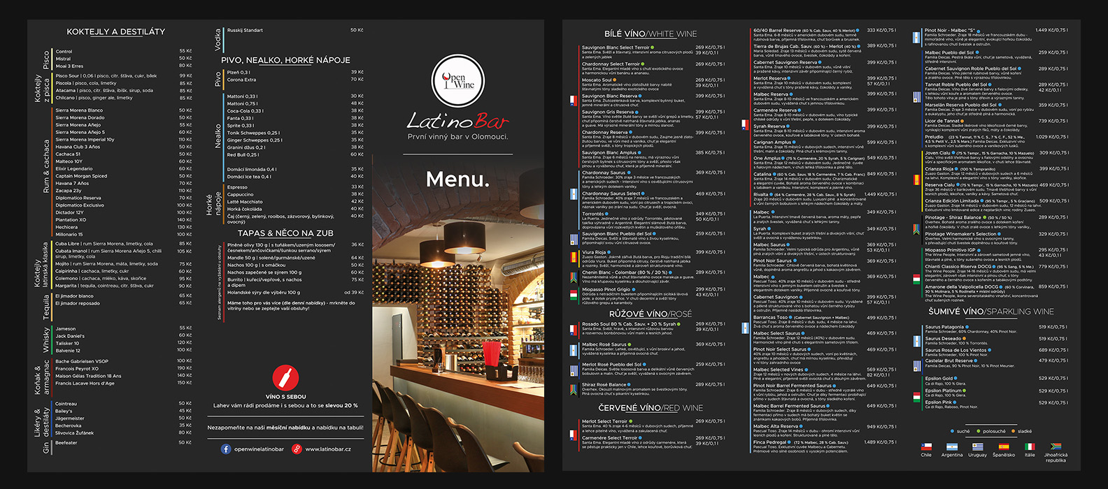 OpenWine latino bar menu