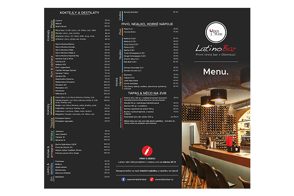 OpenWine Latino Bar Olomouc menu